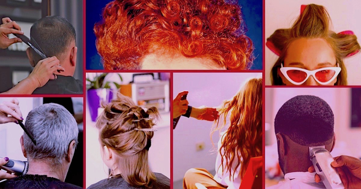A group of 7 pictures showing a selection of men and women having their hair cut and curled.