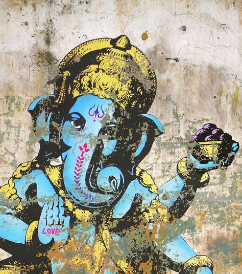 Ganesh with love on a crumbling wall