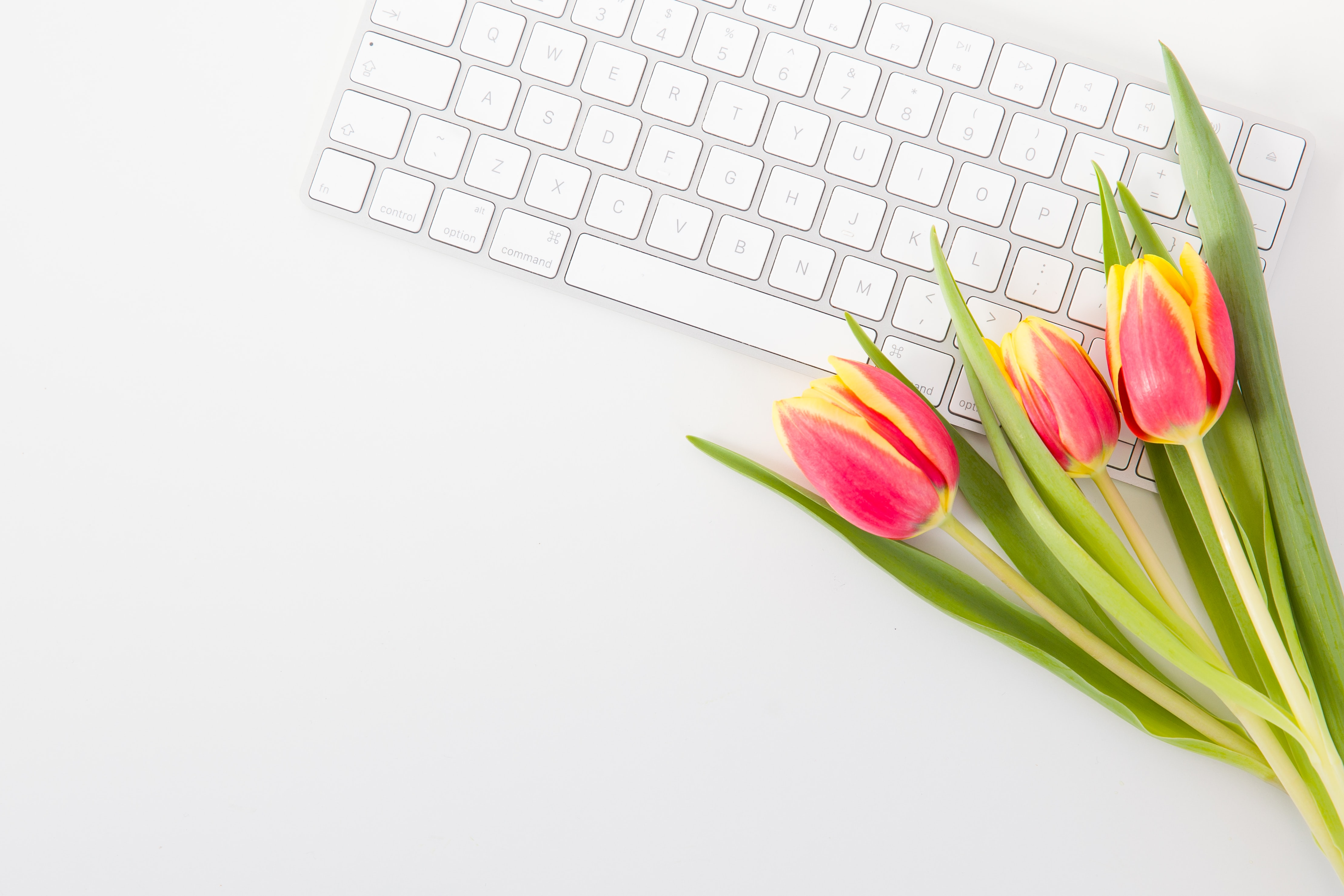 Keyboard with flowers