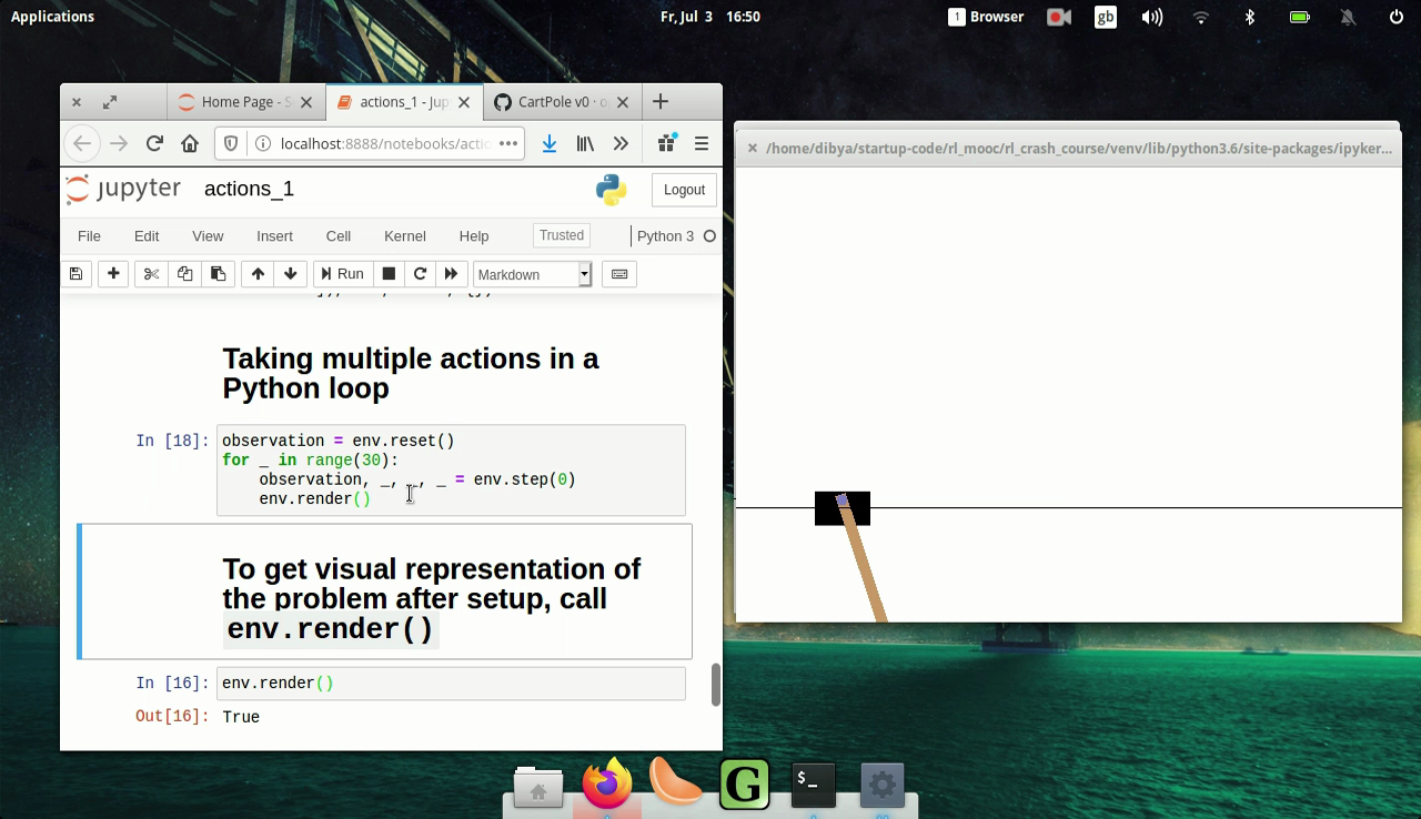 A screenshot from a lecture video on agent actions showing a Jupyter Notebook and a OpenAI Gym CartPole-v0 environment