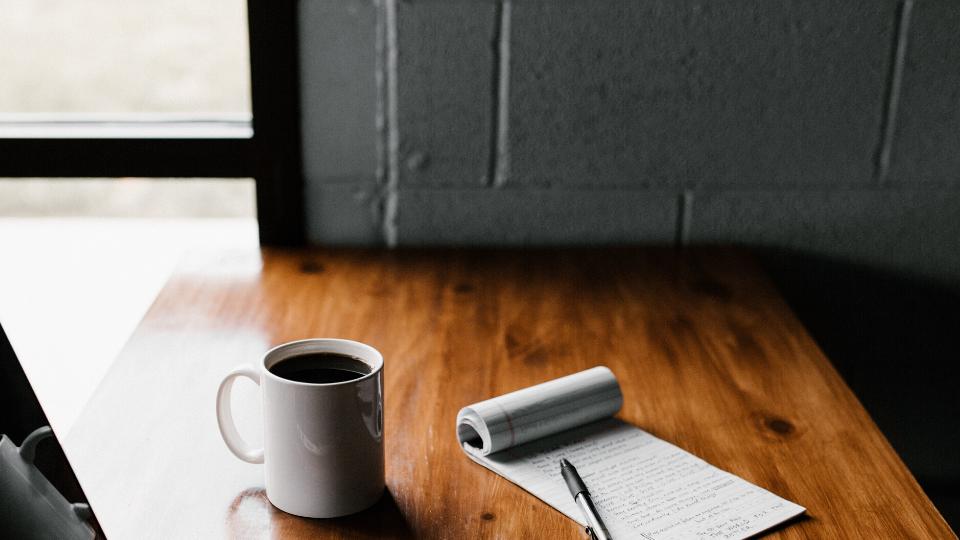 Mug of coffee on a desk