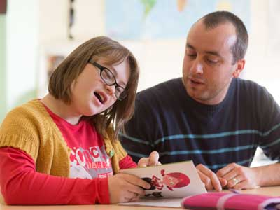 Young woman with learning difficulties planning