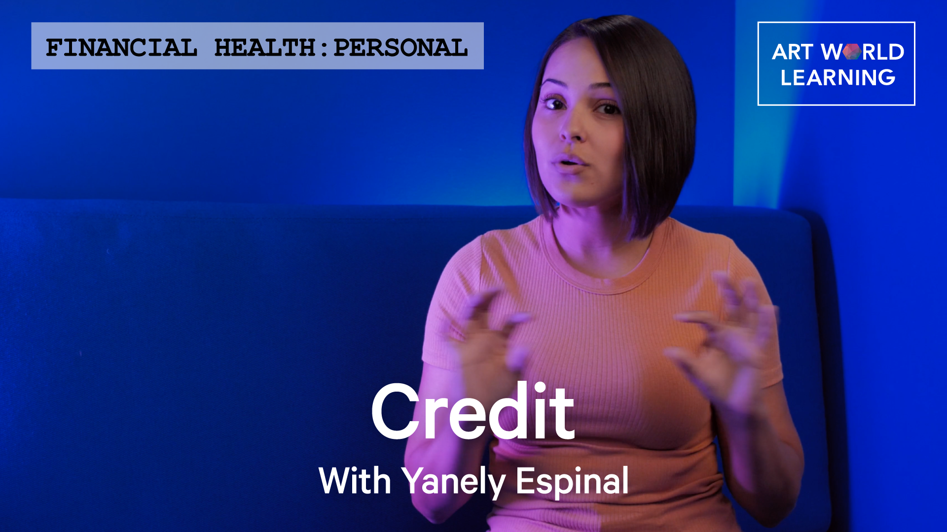 Words Financial Health: Business, Credit With Yanely Espinal over a picture of Yanely Espinal sitting in a blue booth with blue walls.