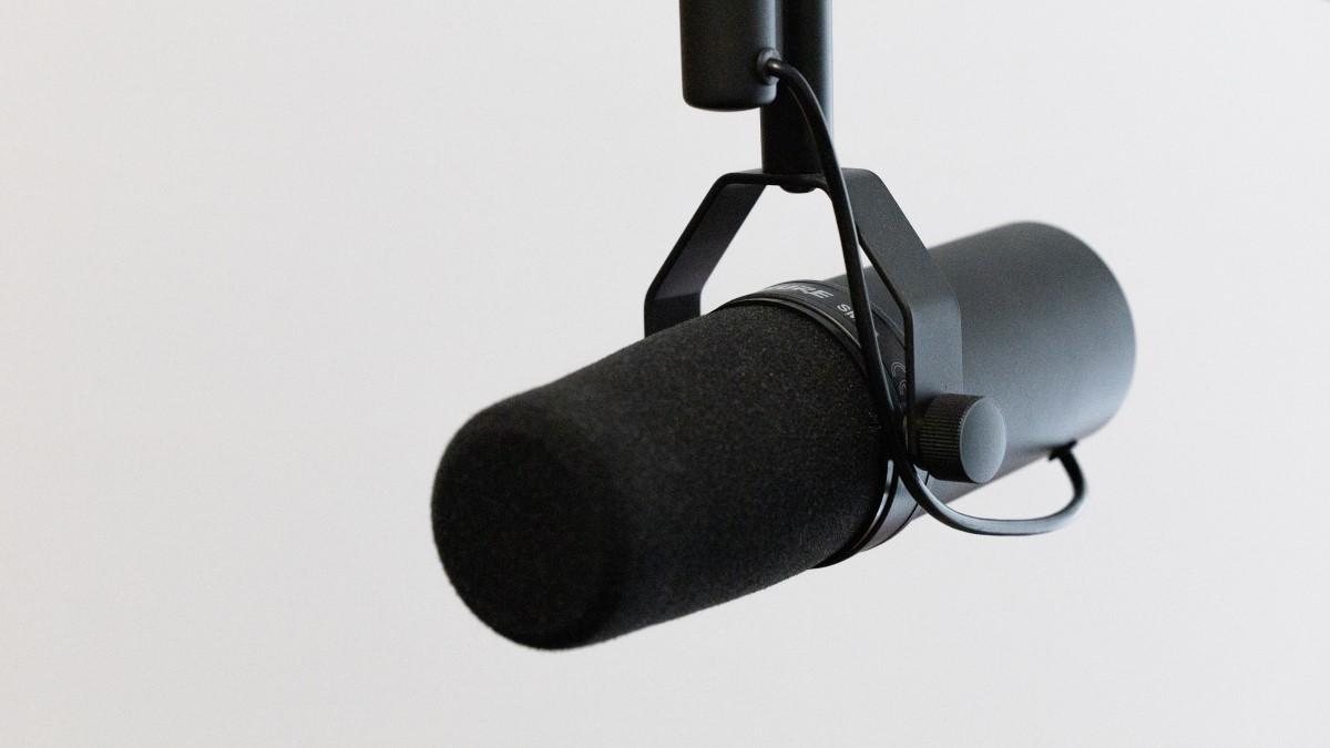downward hanging black microphone