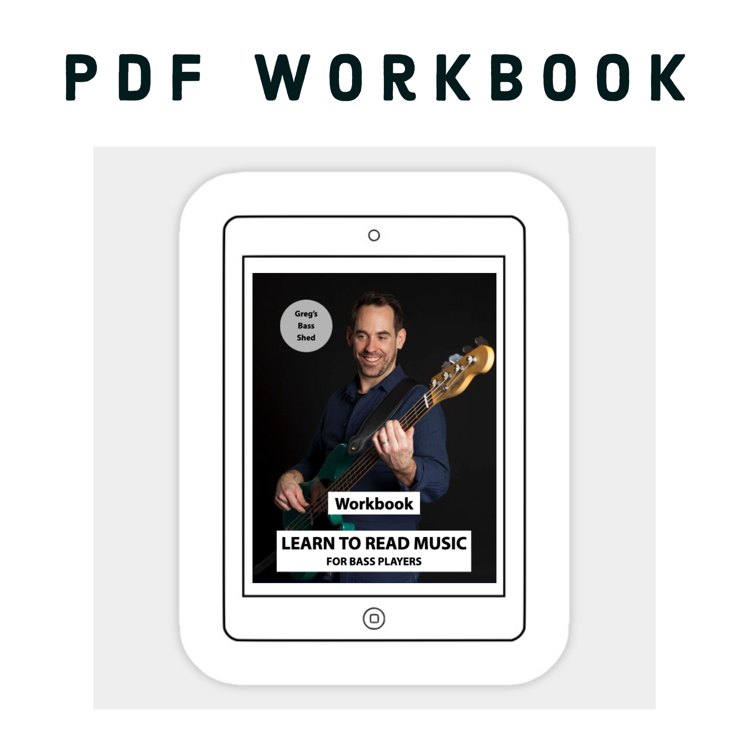 Picture of ipad with workbook for Reading Music Course for bass players