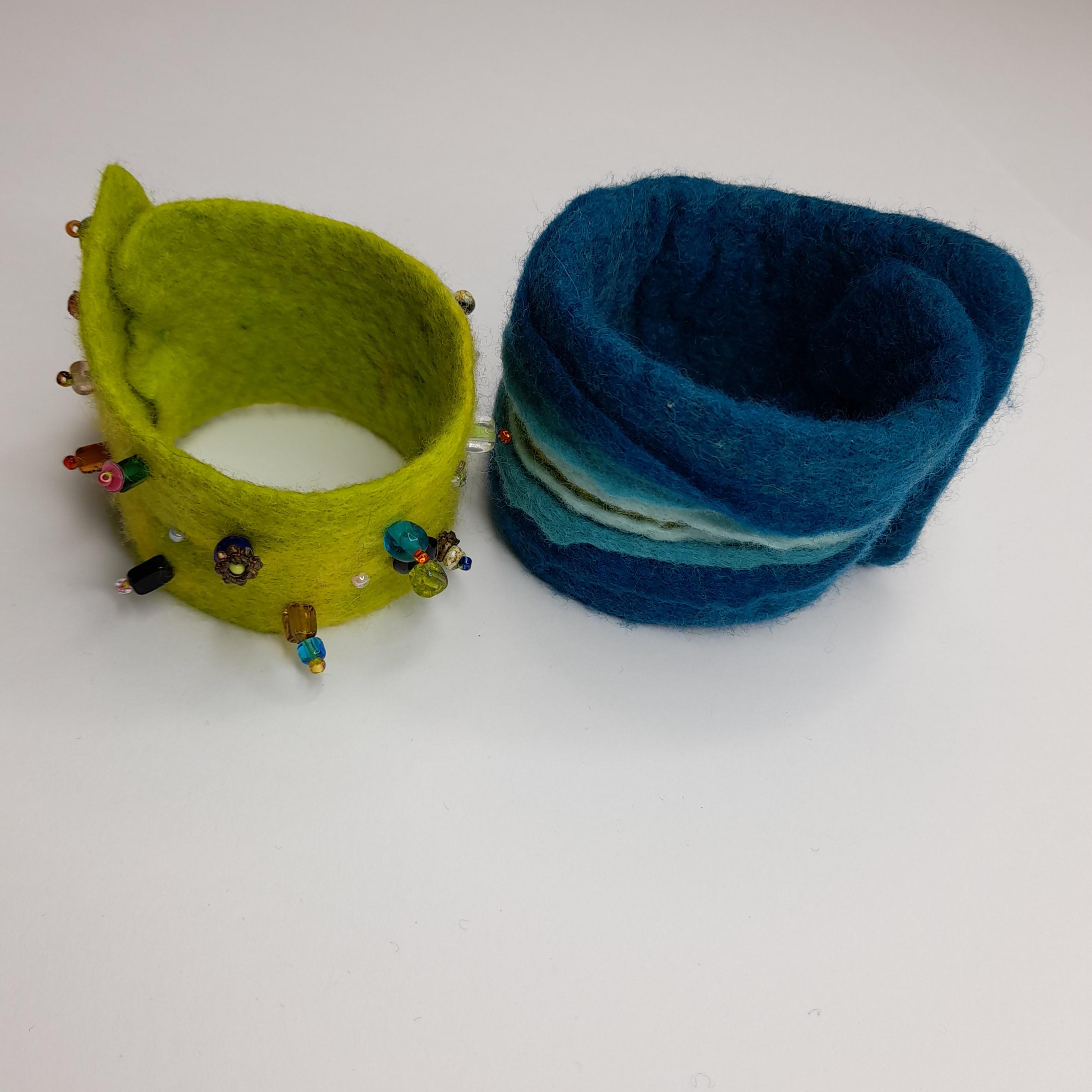 wet felted bracelets from felt fairies