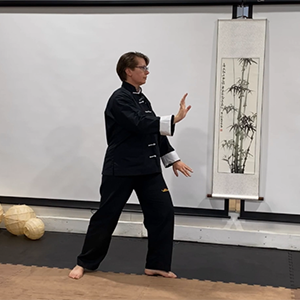 Woman in T'ai Chi clothes performing Brush Knee.