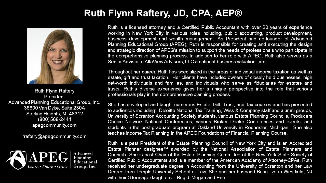 APEG Ruth Flynn Raftery, JD, CPA, AEP®