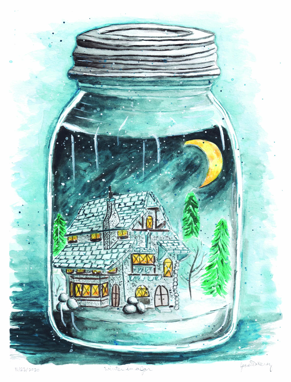 Winter in a Jar in Watercolor