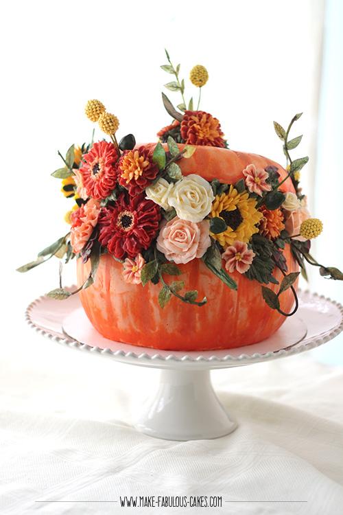 pumpkin cake with buttercream flowers