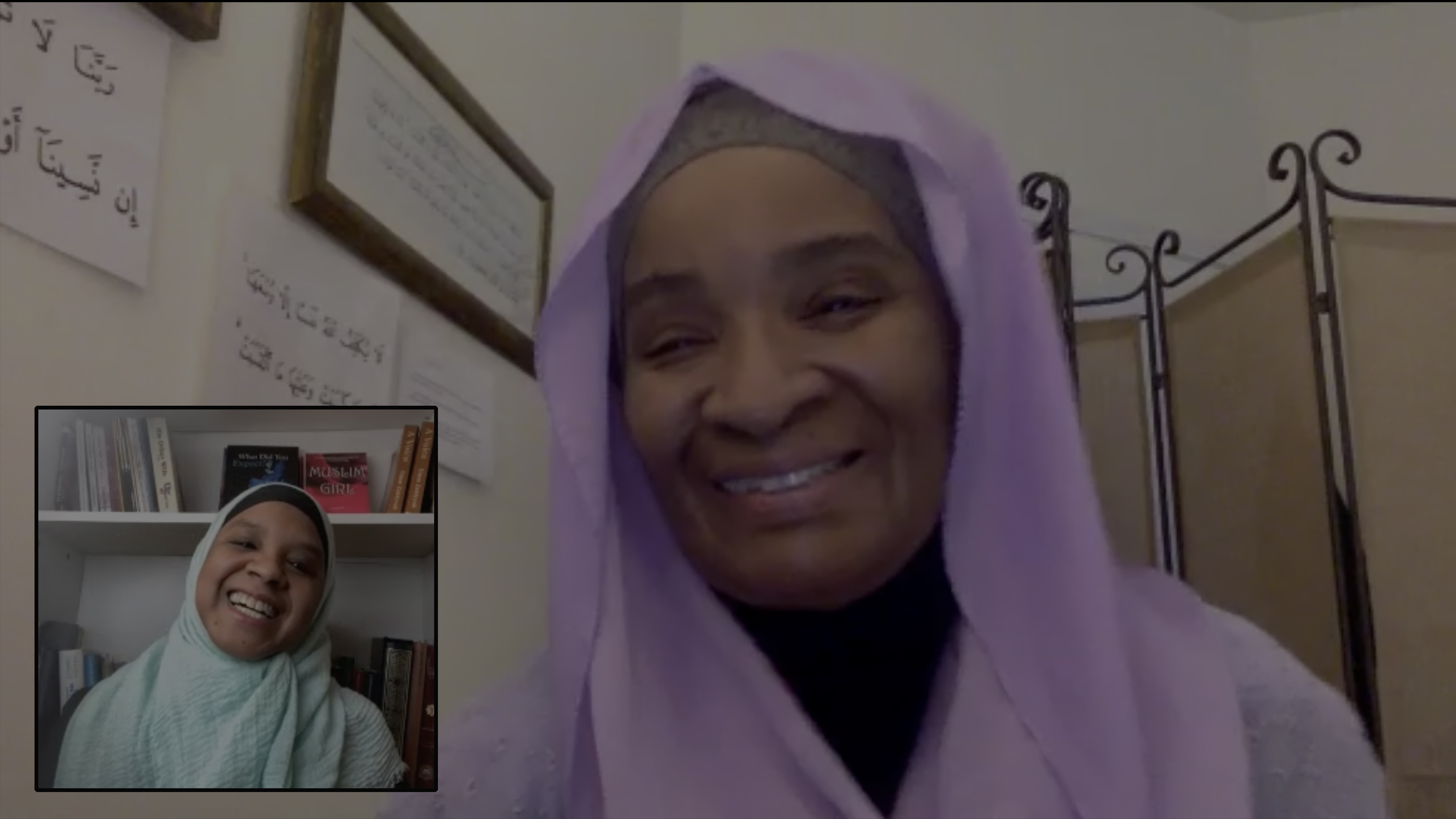 Screenshot of Zoom call with Umm Zakiyyah and her mother