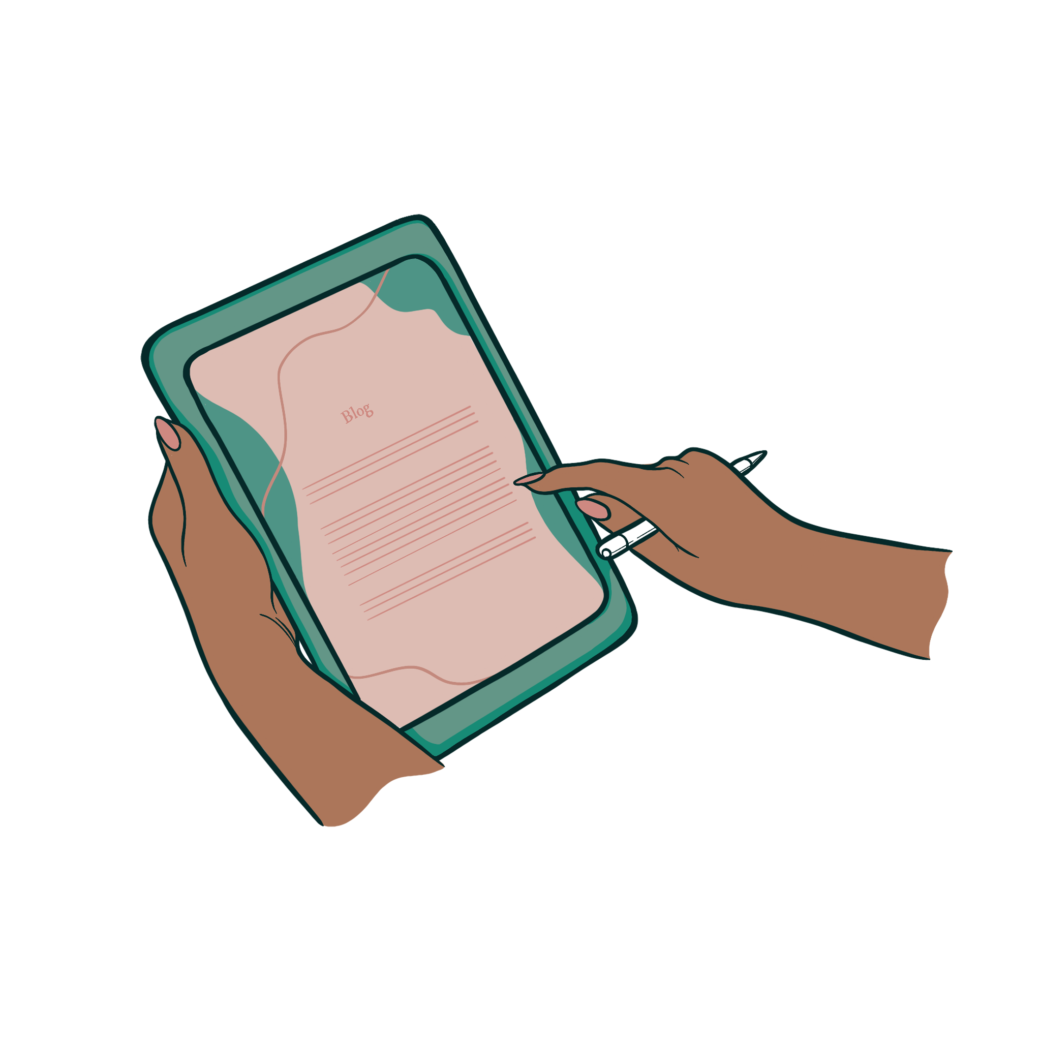 Illustration of person holding and using an uipad