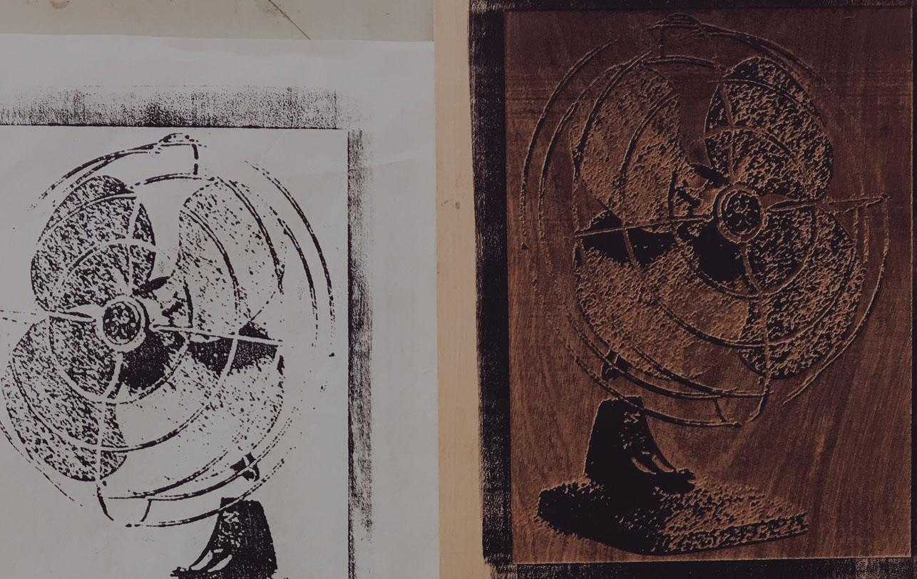 laser cut wood block print of a vintage fan