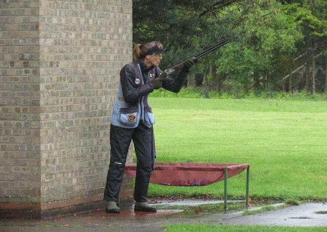 Katy Poulsom Olympic Skeet shooter calling for target