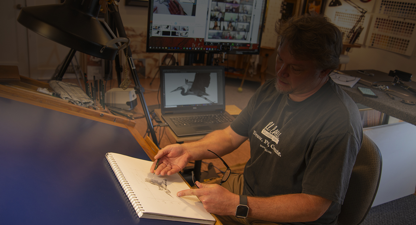 Live online drawing and painting instructional courses with artist Robert Louis Caldwell