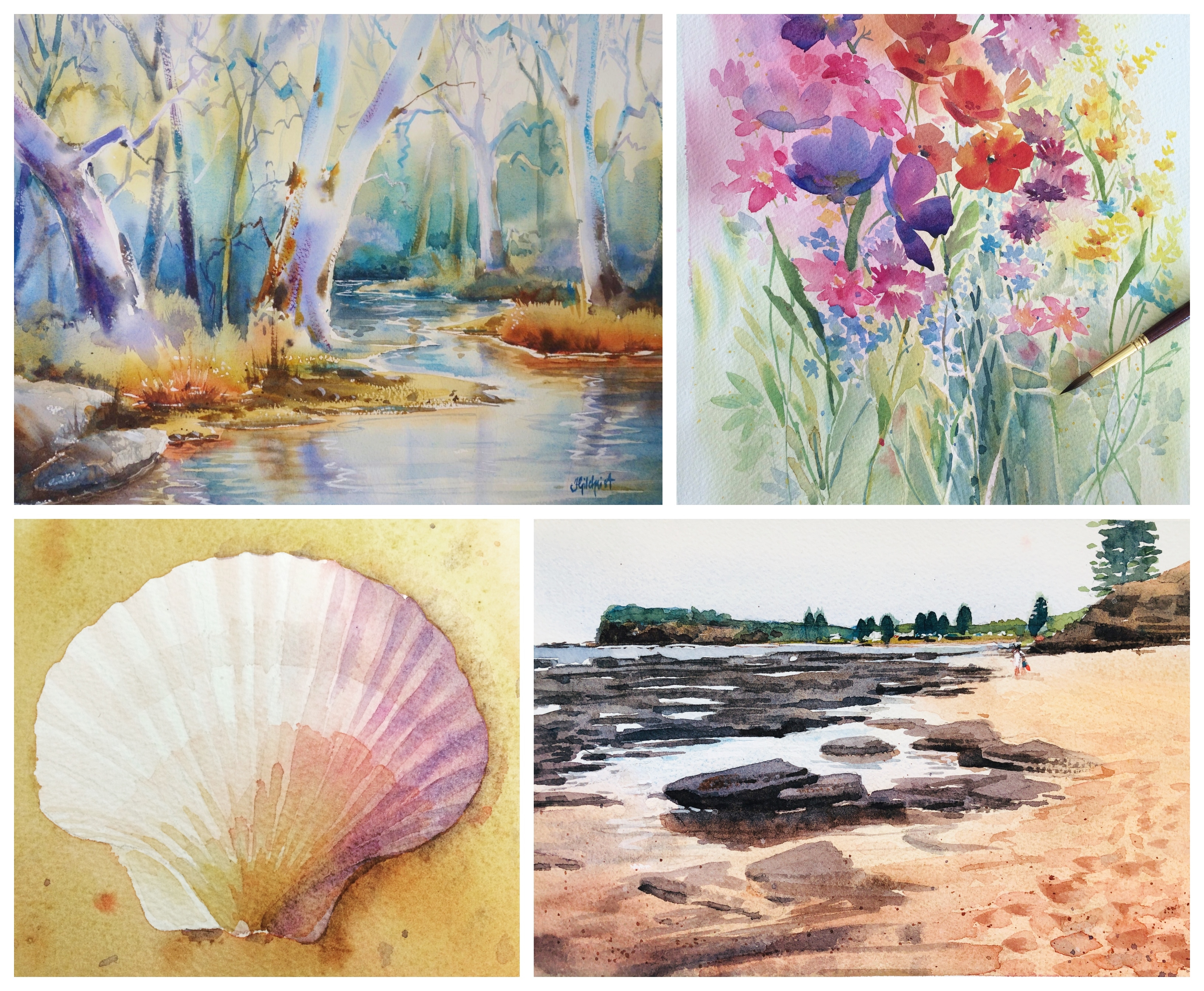 Watercolour Classes, tutorial Workshops Online for beginners with Jenny Gilchrist