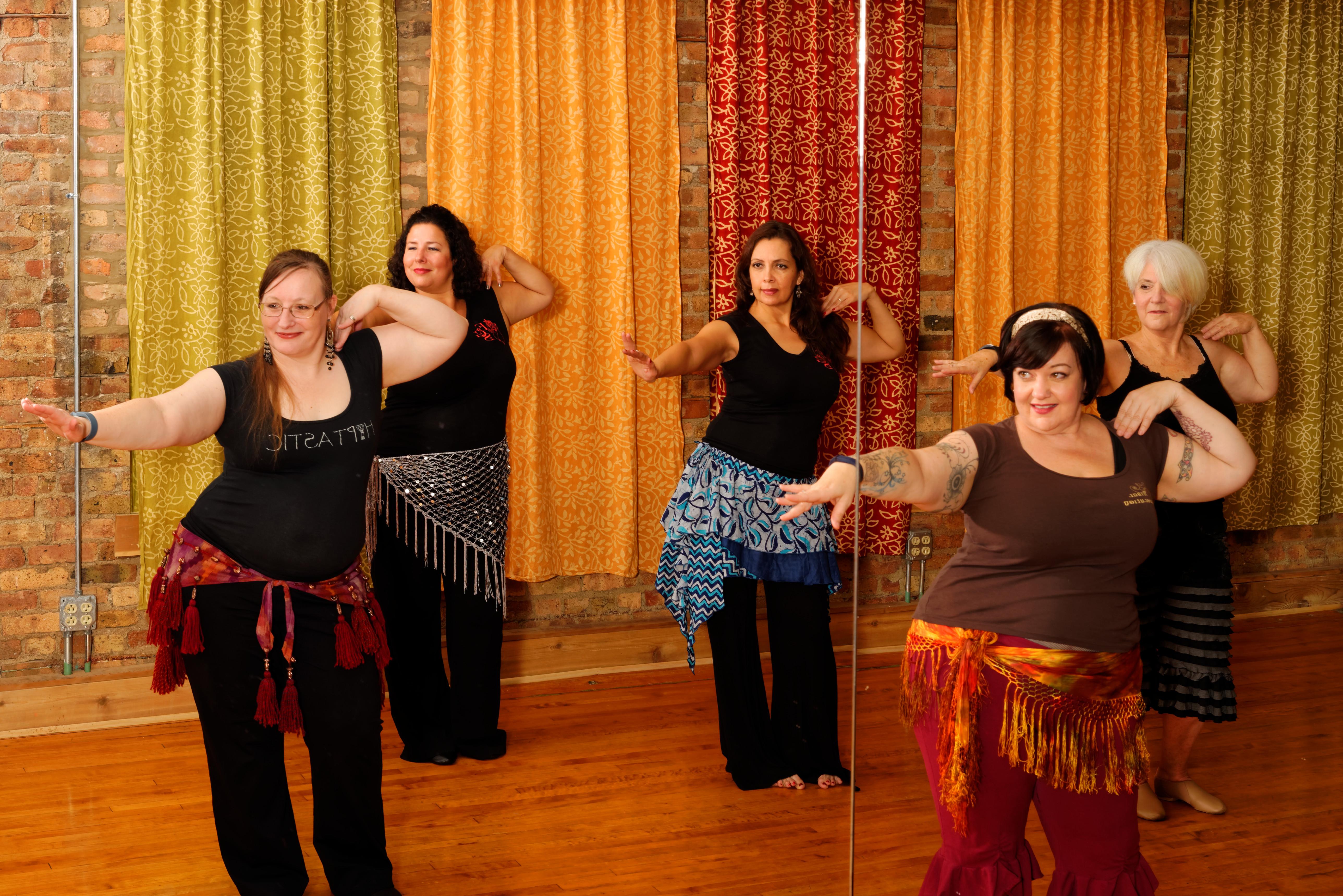 Dancers enjoying a belly dance class