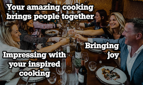 happy group eating dinner and toasting with a text overlay