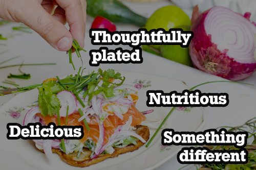 healthy well-plated meal with a text overlay