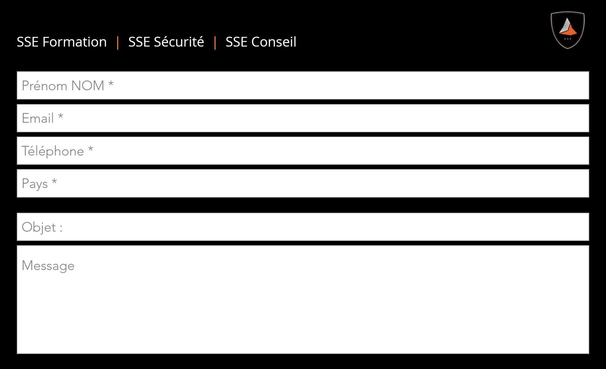 Formulaire Contact SSE