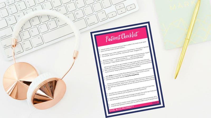 Travel Blog Prosperity checklist