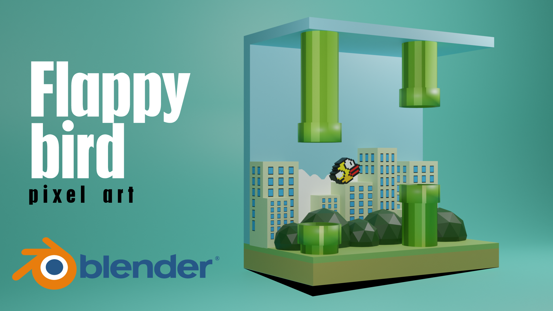 Flappy Bird Game Character 3D Model Blender Academy Course
