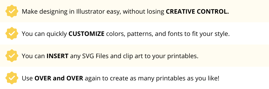 The Printable Packet Adobe Illustrator Templates that are easy to customize