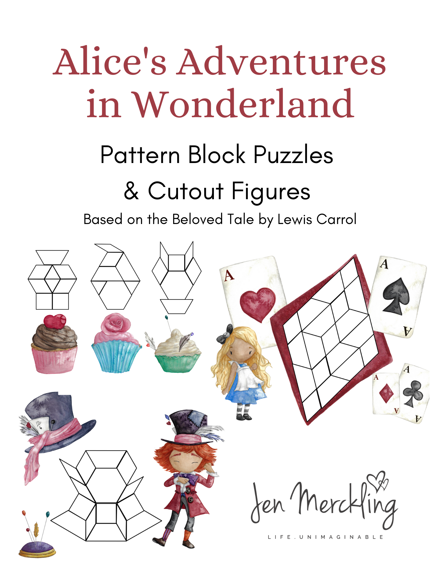 Math manipulatives using pattern block puzzles and cutout figures for hands-on learning and creative play