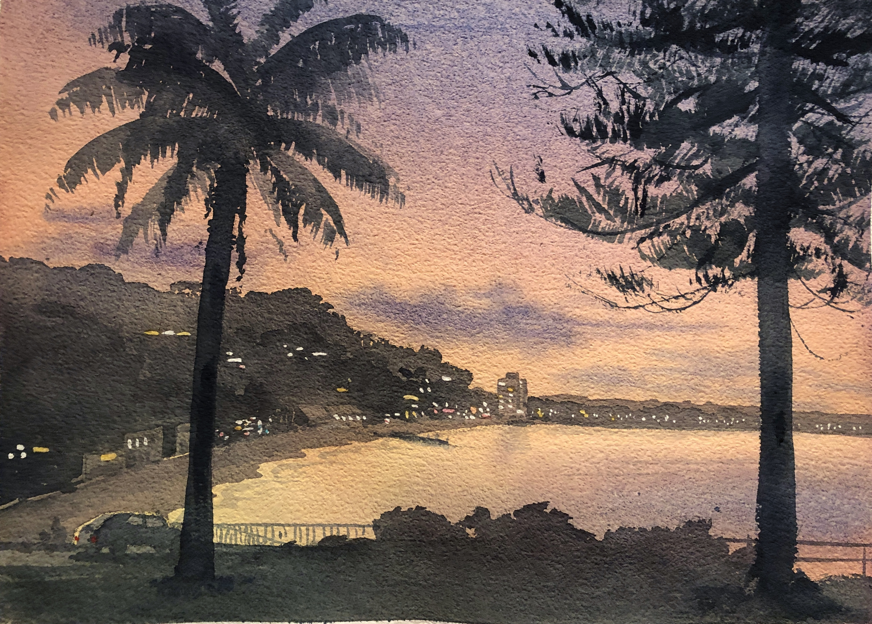 Watercolour Painting of Collaroy Beach, Sydney, by Jenny Gilchrist and Northern Beaches Watercolour.