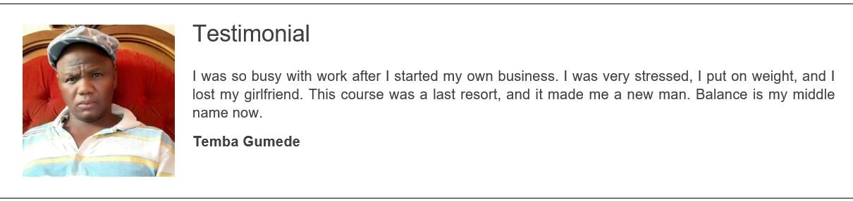 Work-Life Balance Course Testimonial