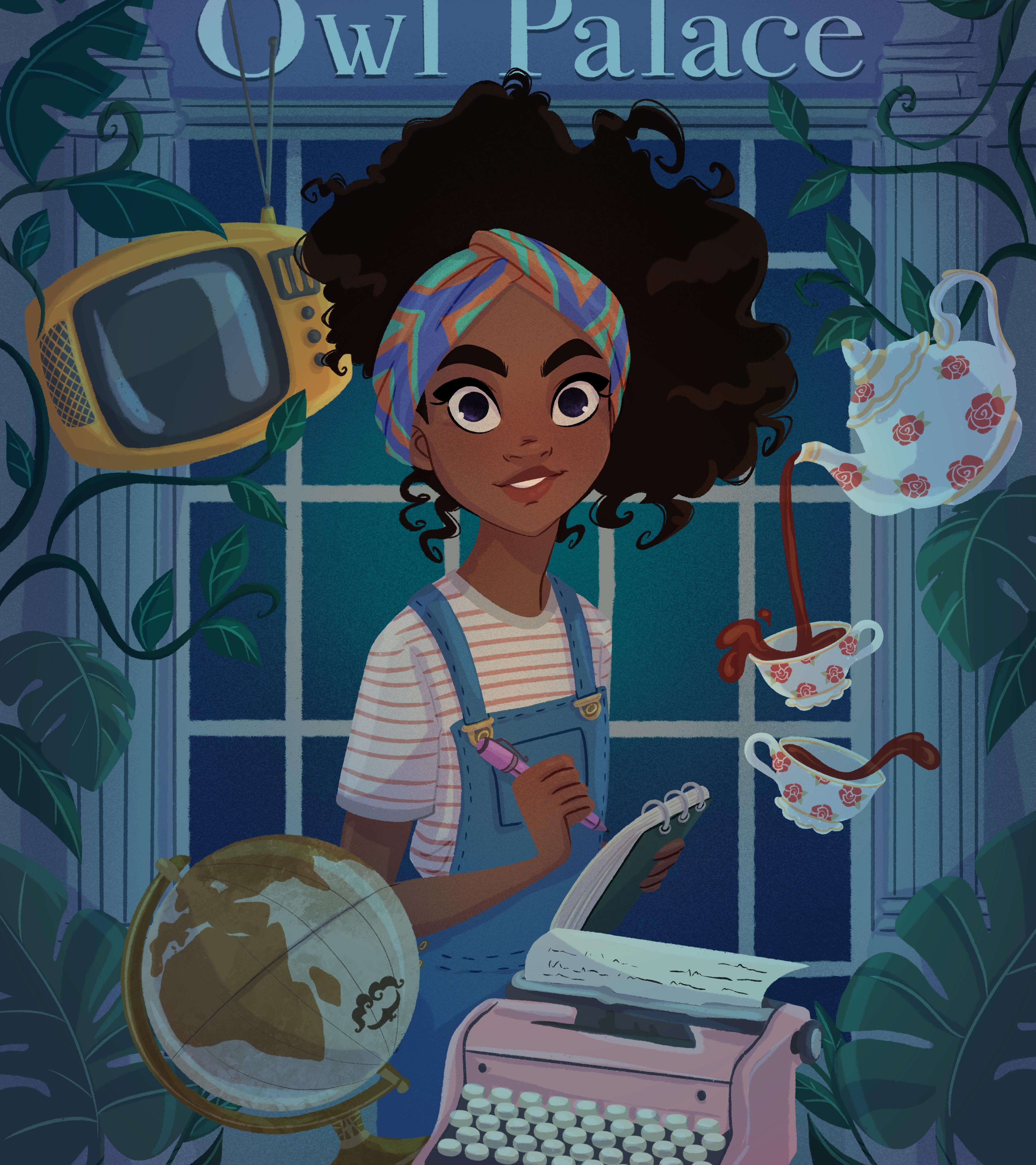 a character design illustration showing a teen girl doing magic and holding a pen and notepad