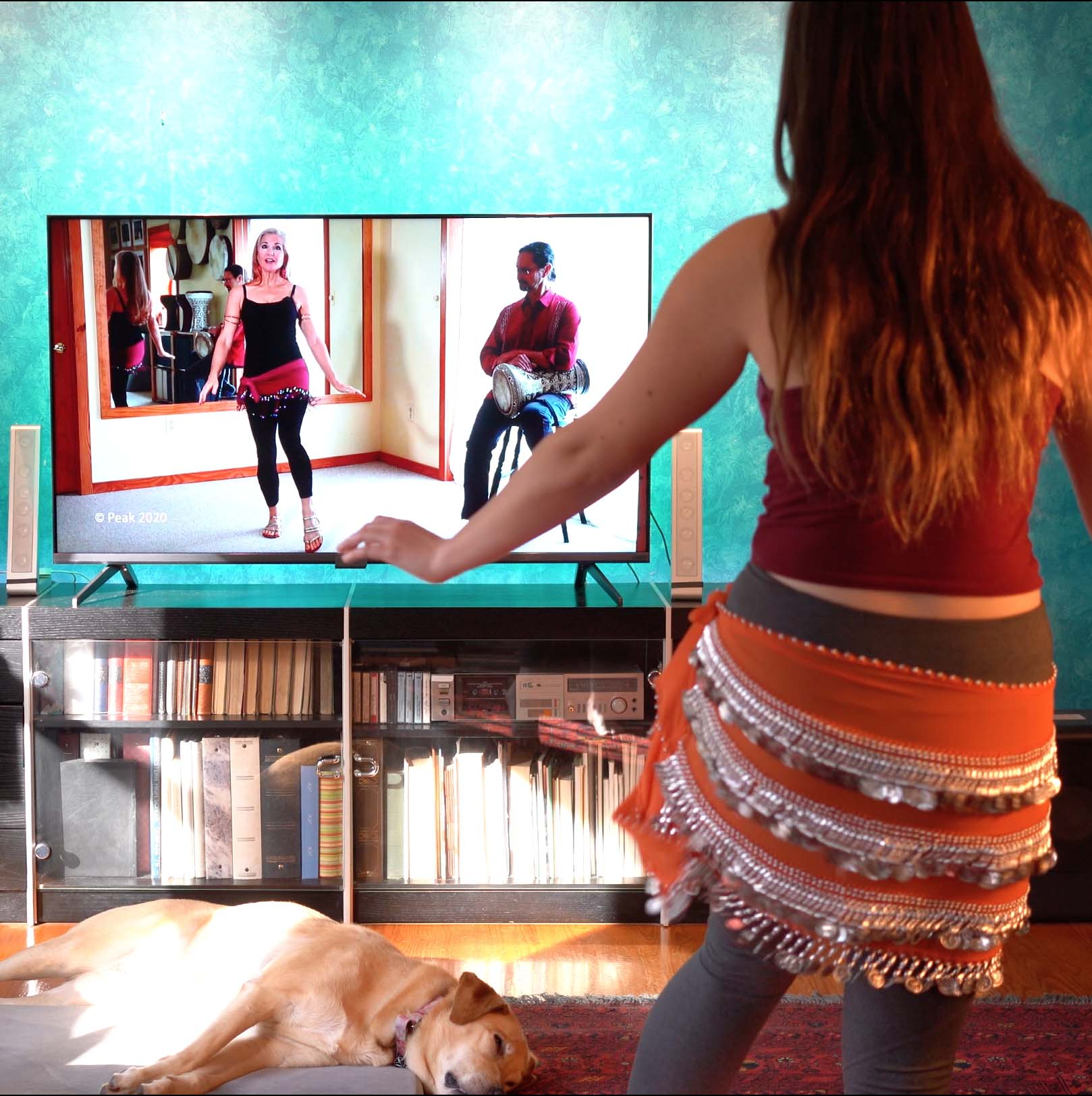 young woman learning belly dance with online class on TV in living room with sleeping dog
