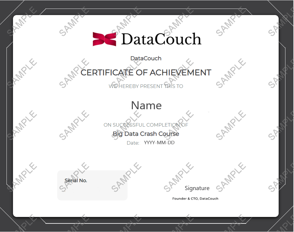 Big Data Crash Course Certificate