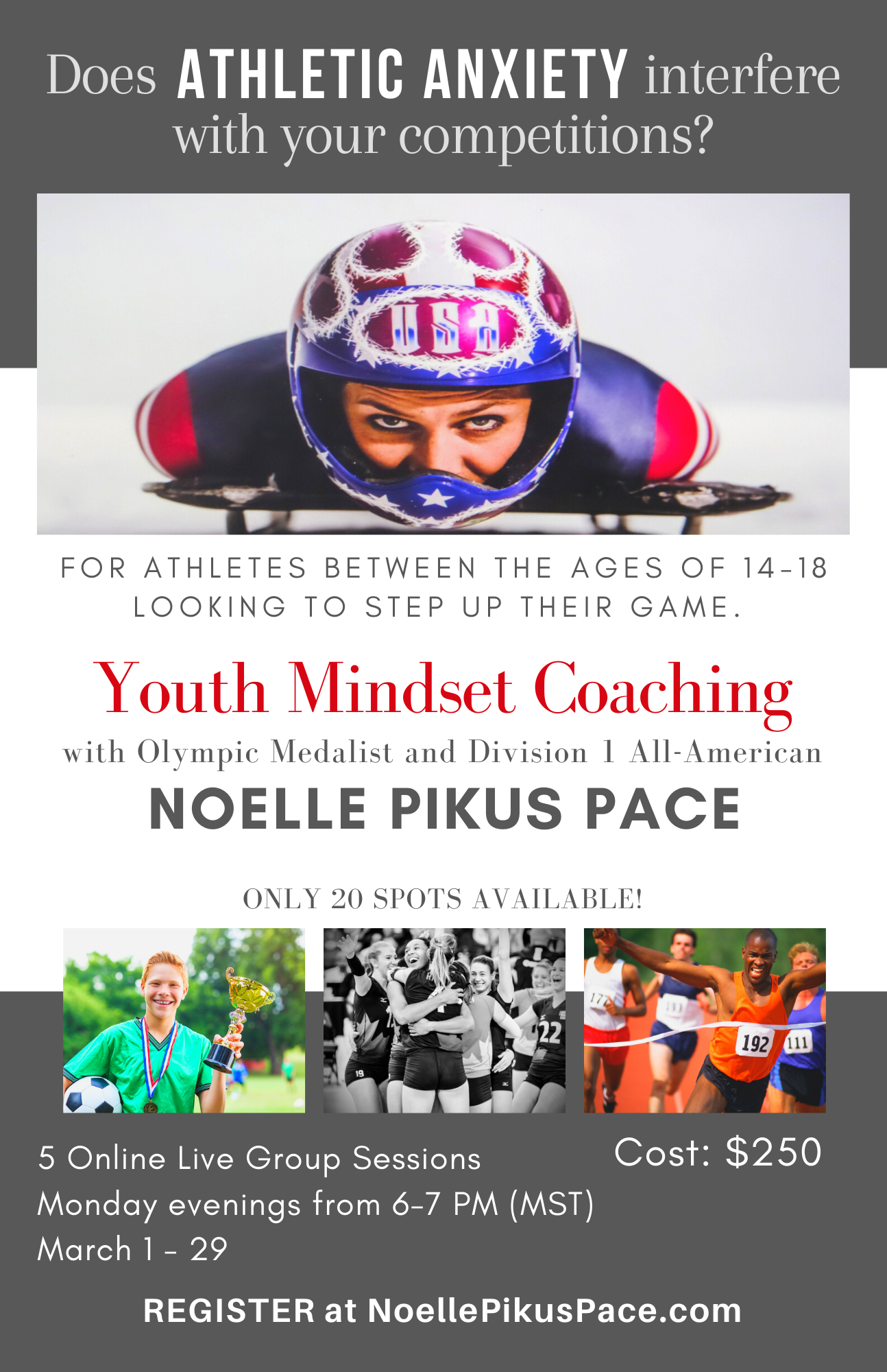 Olympic Mindset coaching with olympic silver medalist and world champion Noelle Pikus Pace
