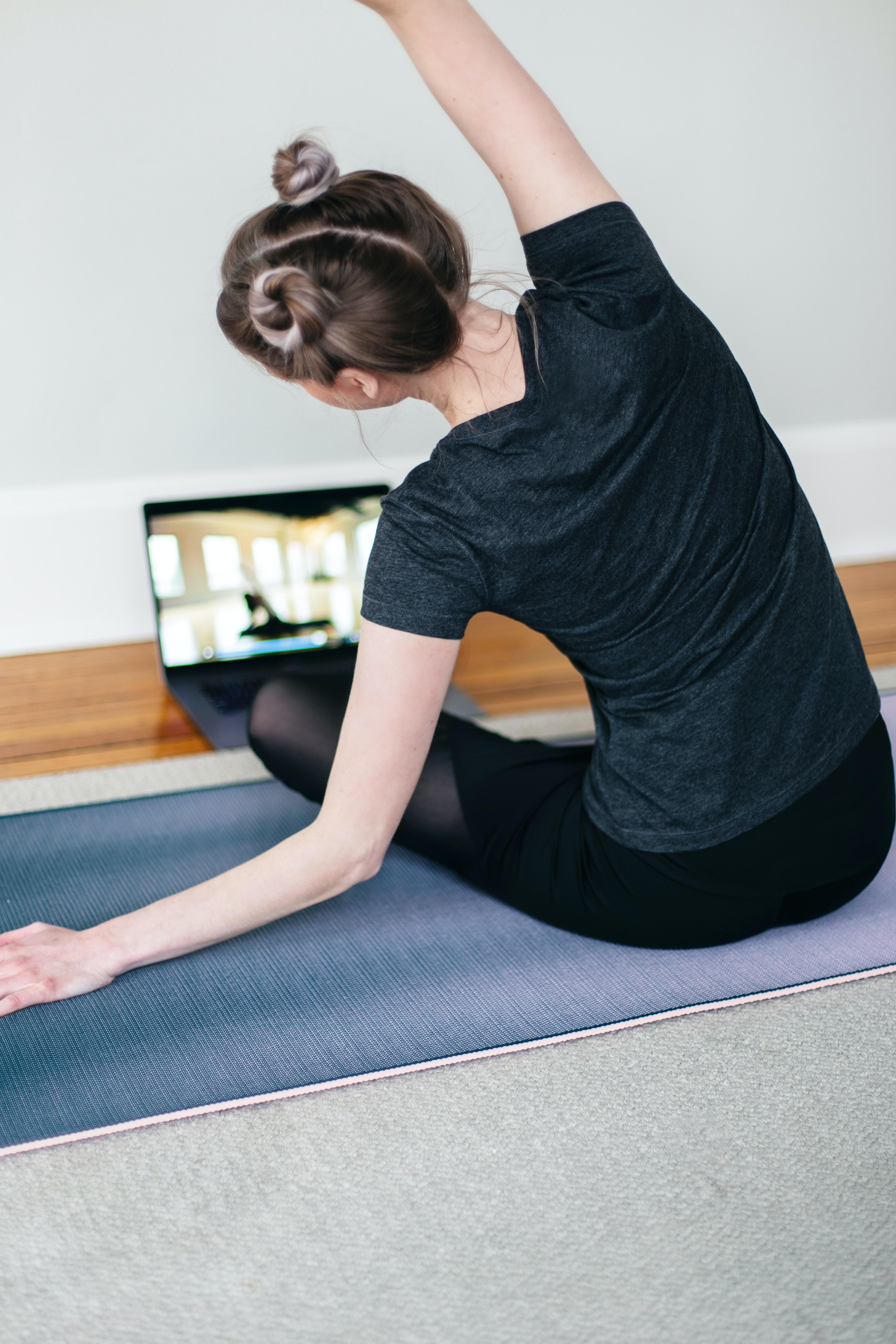 yoga block, mat and strap