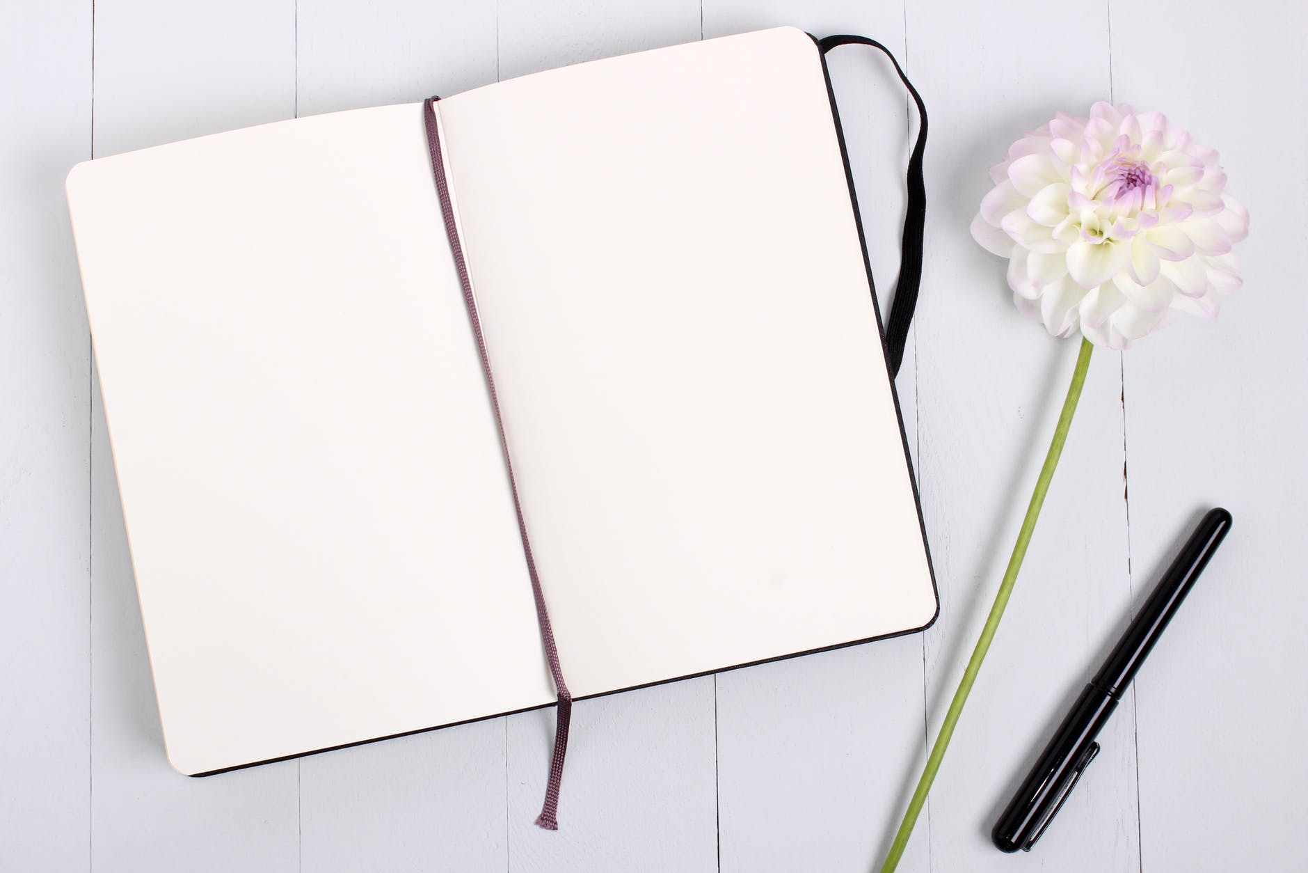 Blank notebook beside white flower and black pen