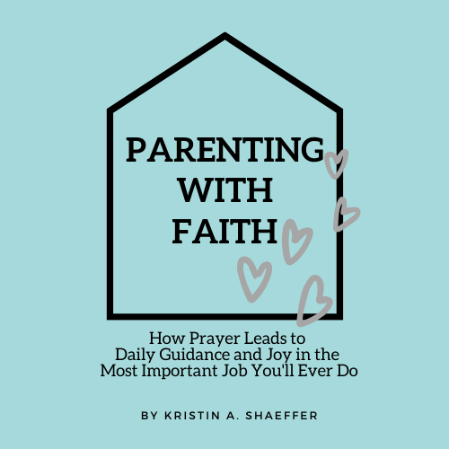 logo of parenting with faith in the outline of a house with grey hearts