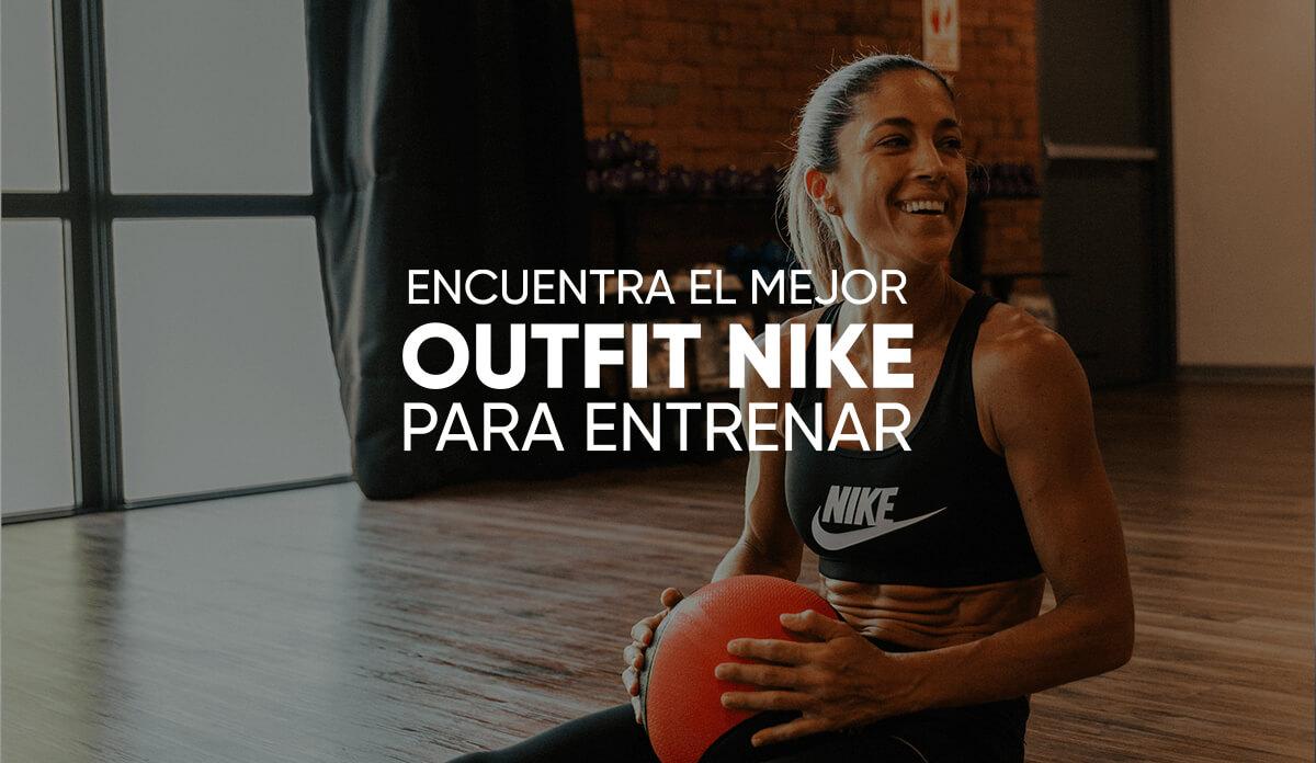 """La frase """"Encuentra el mejor outfit Nike para entrenar"""" sobre una mujer sonriente entrenando con ropa de deporte."""