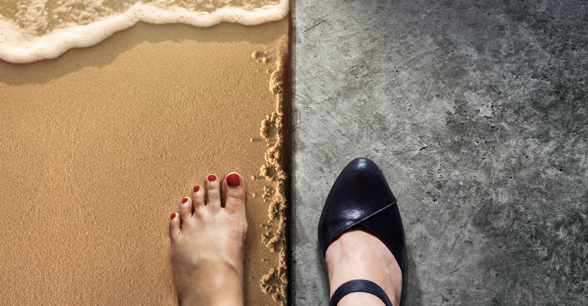 barefoot on the beach and heeled shoe