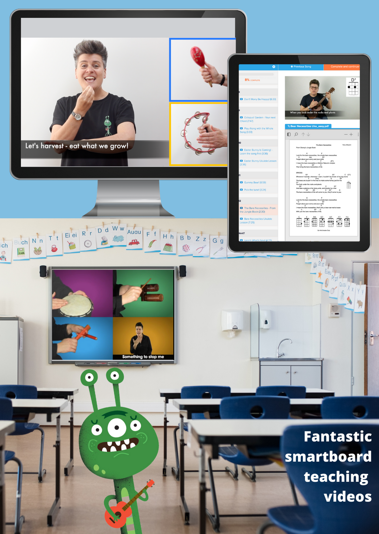 computer, tablet and classroom images of teaching resources