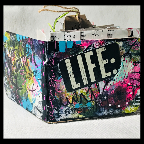 mixed media journal with LIFE on the cover