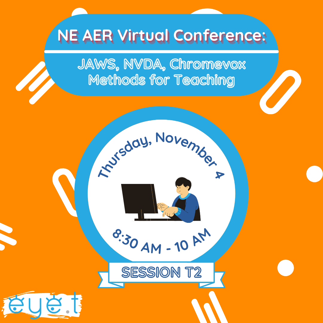 """Blue header stating, """"NE AER Virtual Conference"""", with a graphic of someone using a computer and text, """"Thursday, Novmeber 4"""" and """"8:30 AM - 10 AM"""", all against an orange background."""