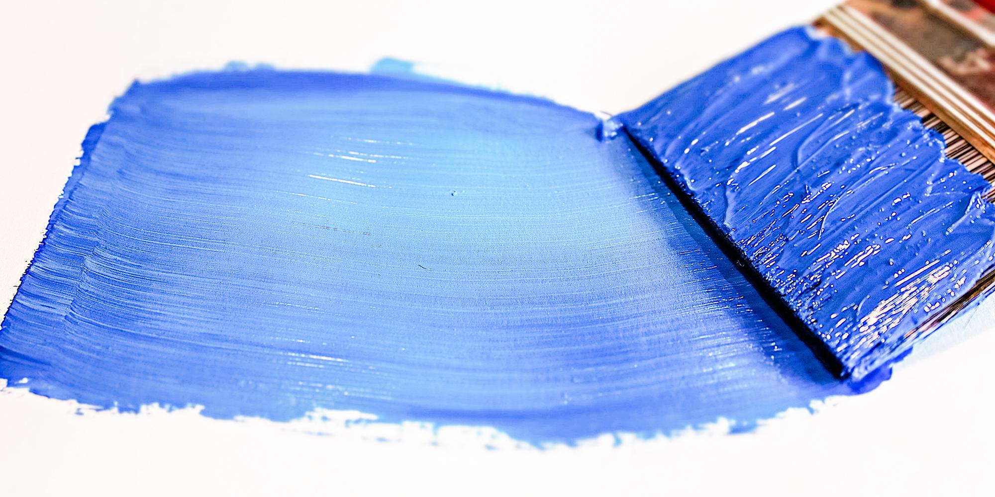 blue acrylic paint brushstroke