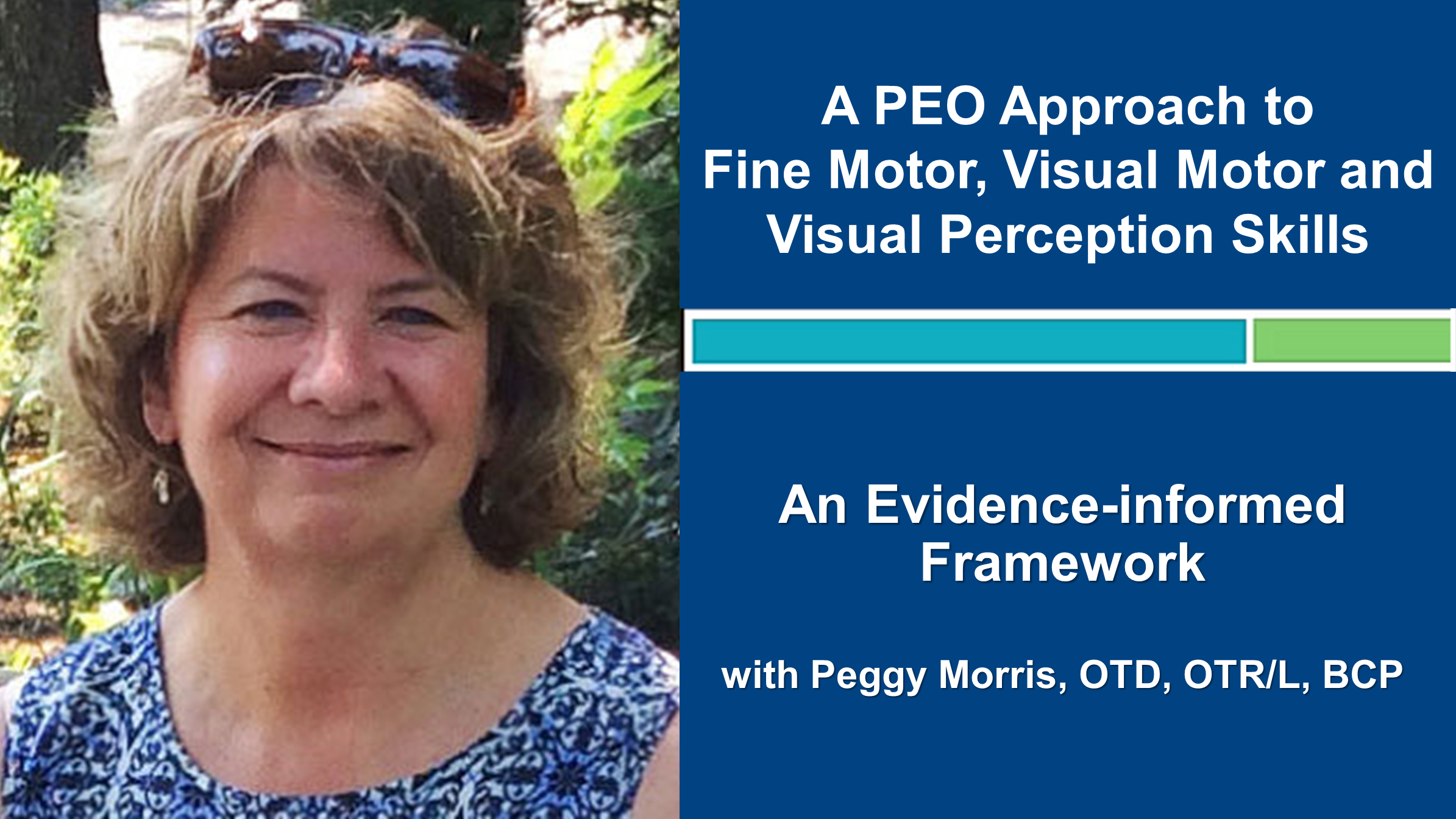 Webinar 1: A PEO Approach to Fine Motor, Visual Motor and Visual Perception Skills with Peggy Morris, OTD, OTR/L, BCP