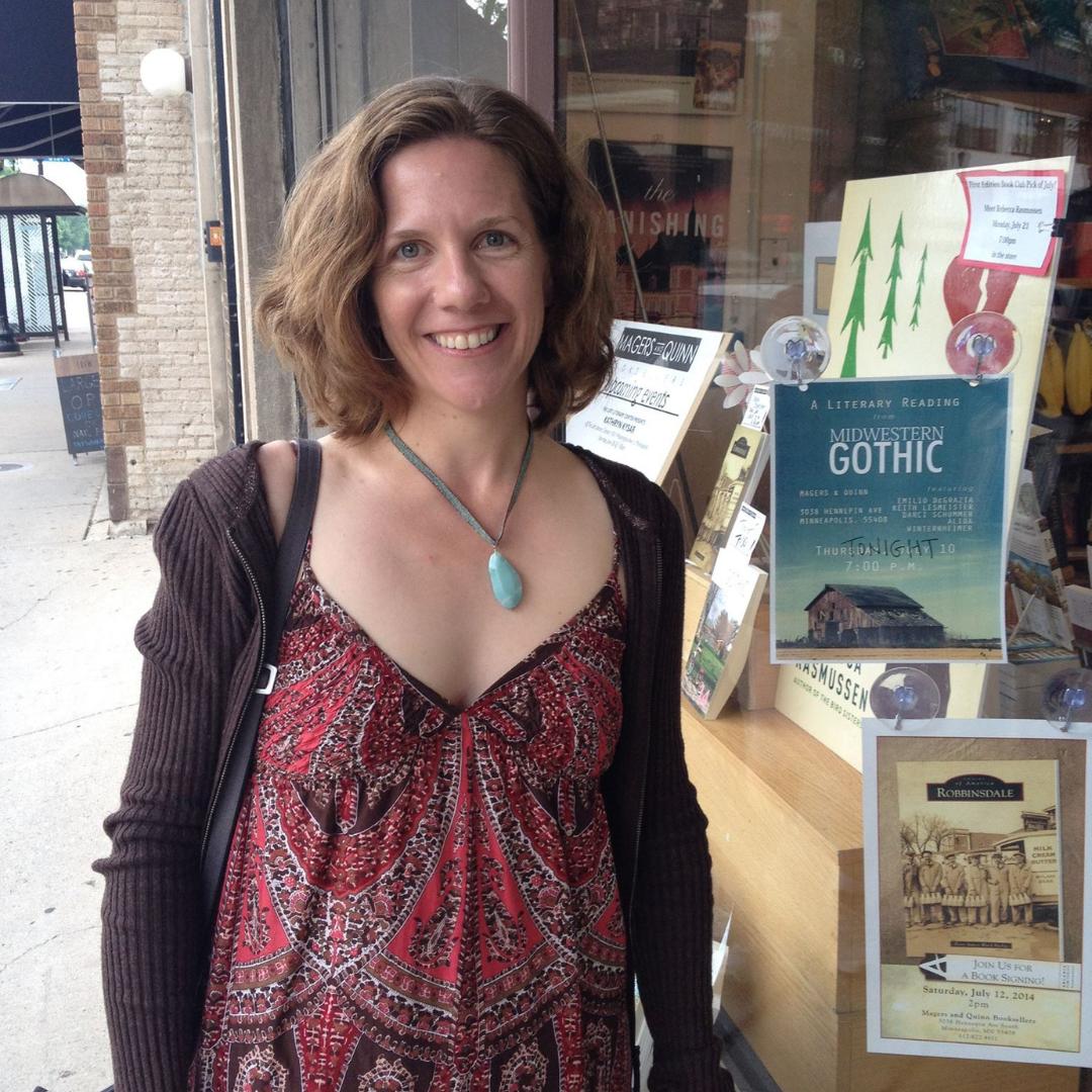 Alida Winternheimer outside bookstore