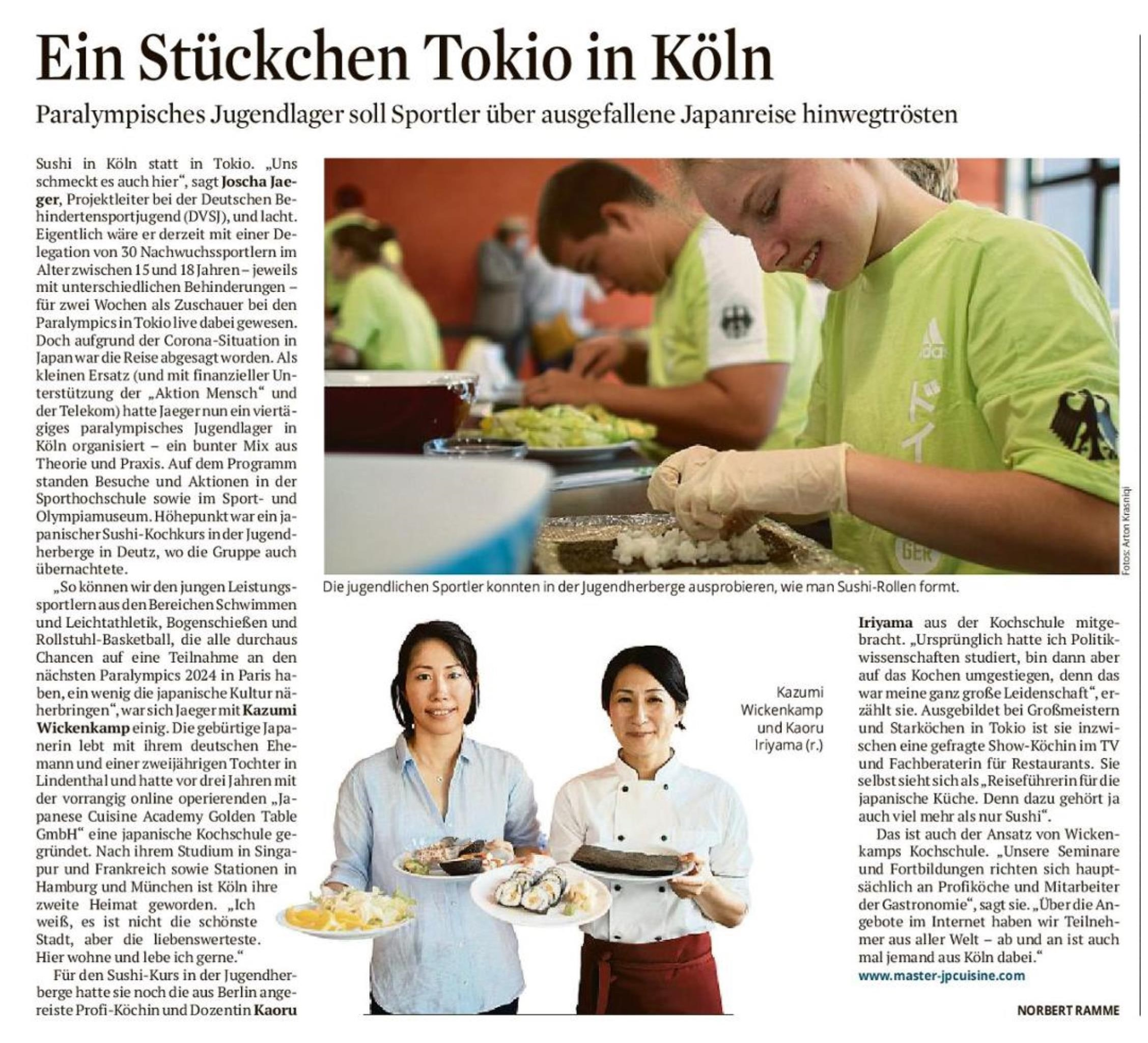 Japanese Cuisine Class for junior Para-athletes in Germany