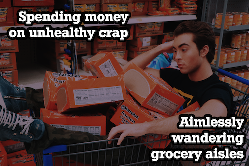 guy sitting in grocery cart filled with ramen with text overlay