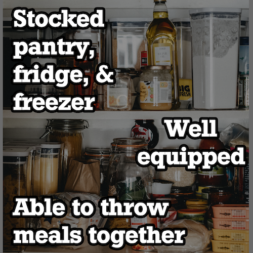 stocked pantry with a text overlay