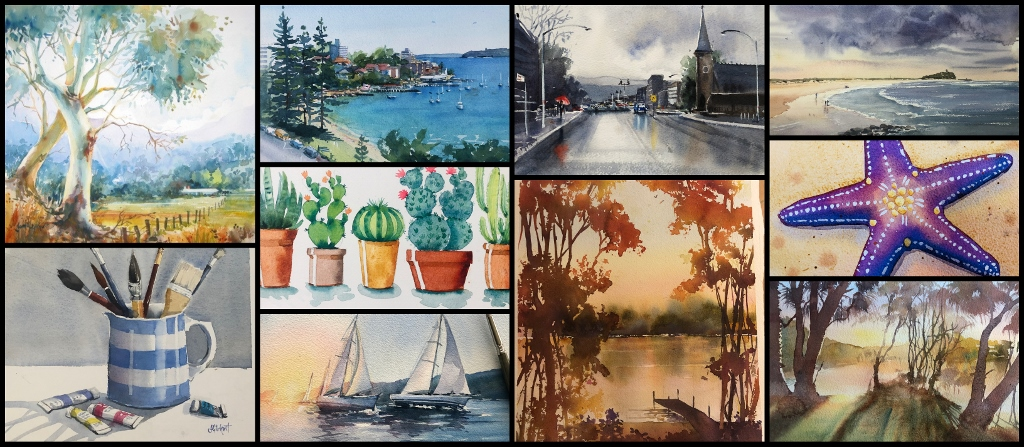 Collage of watercolour paintings by Jenny Gilchrist - Watercolour Classes online for beginner painters.