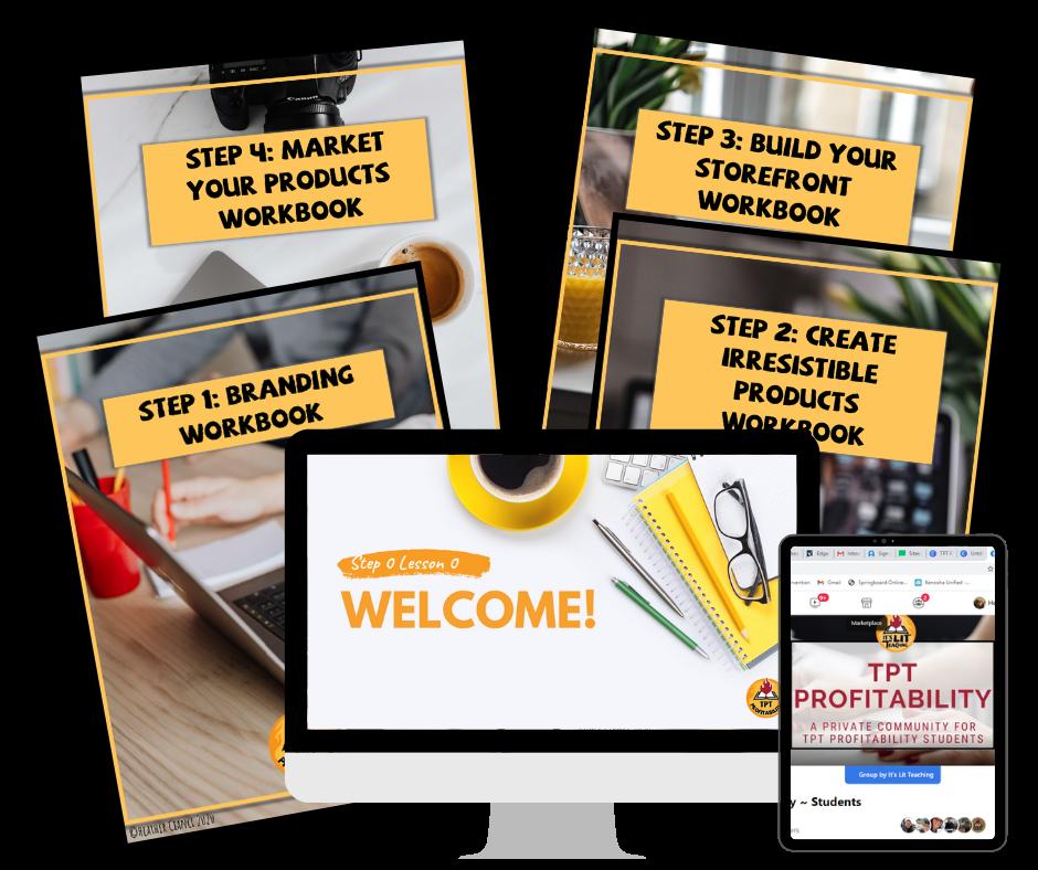 TPT Profitability Course: How to Sell on Teachers Pay Teachers mockup design